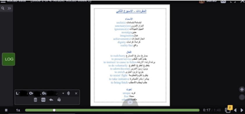 Students on Advanced Arabic II create their own vocab list with text and audio